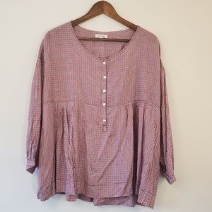 Max Studio gingham babydoll top size medium